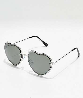 Icon Eyewear Silver Smoke Metal Heart Sunglasses