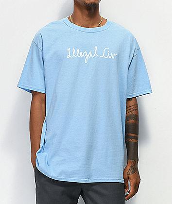 Illegal Civilization Script Light Blue T-Shirt
