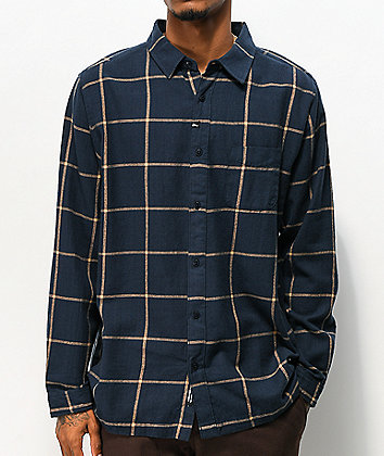 Imperial Motion Claxton Navy Long Sleeve Flannel Shirt
