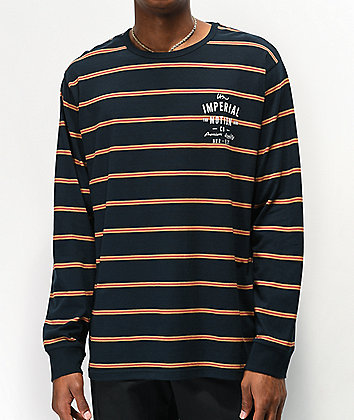 Imperial Motion Navy Stripe Long Sleeve Knit T-Shirt
