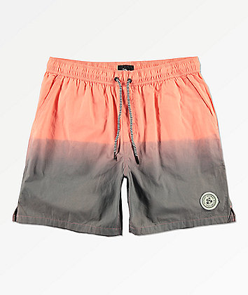 Imperial Motion Seeker Tub Volley Coral & Grey Dip Dyed Elastic Waist Shorts