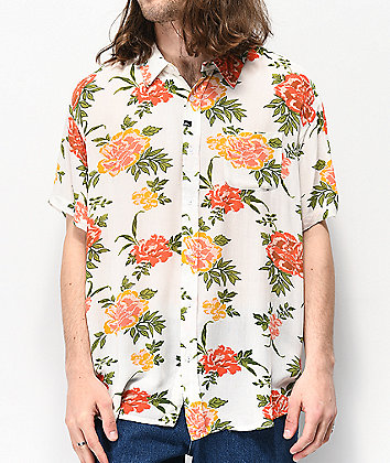 Imperial Motion Vacay White Floral Woven Short Sleeve Button Up Shirt