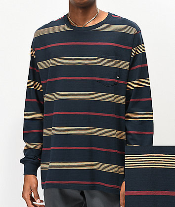 Imperial Motion Vintage Slub Navy Striped Knit Long Sleeve T-Shirt