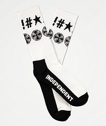 Independent Ante White Crew Socks