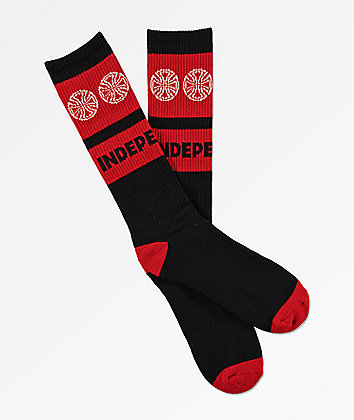 Independent Woven Crosses Black & Red Crew Socks