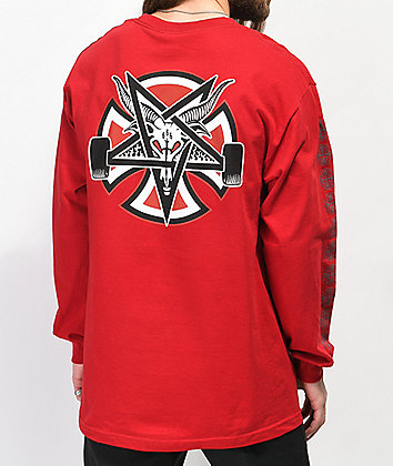 Independent x Thrasher Pentagram camiseta roja de manga larga