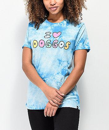 JV by Jac Vanek I Love Doggos Blue Tie Dye T-Shirt