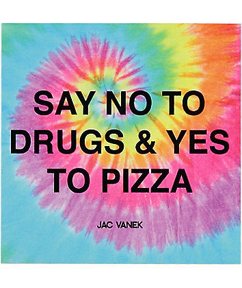 JV by Jac Vanek Yes To Pizza Tie Dye Sticker