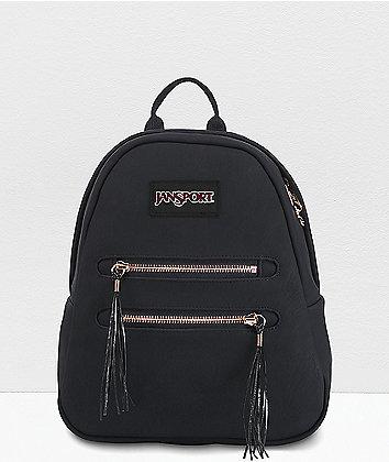 JanSport Half Pint 2 Black & Rose Gold Mini Backpack