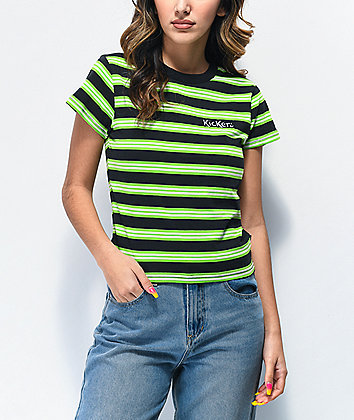 Kickers Green & Black Striped Crop T-Shirt
