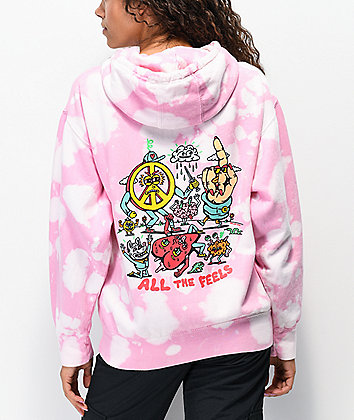 Killer Acid All The Feels Bleached Pink Tie Dye Hoodie