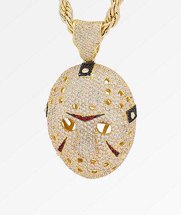 King Ice Hockey Mask XL Gold Pendant Necklace