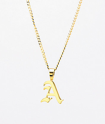 King Ice Script A Gold Necklace