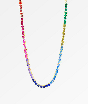 "King Ice Single Row 20"" Rainbow Gold Chain Necklace"
