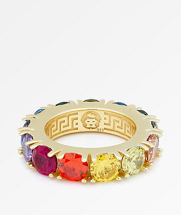 King Ice Single Row Rainbow Gold Ring