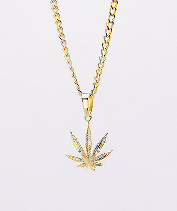 King Ice Weed Leaf Gold Necklace