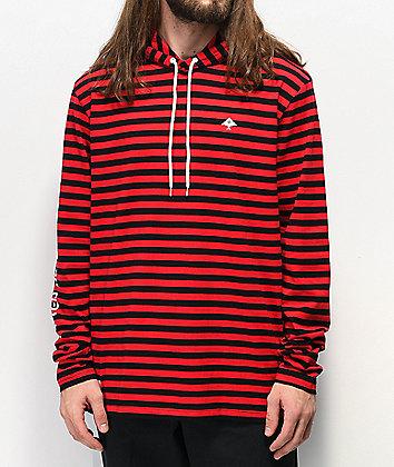 LRG Dip In Red & Black Hooded Long Sleeve T-Shirt