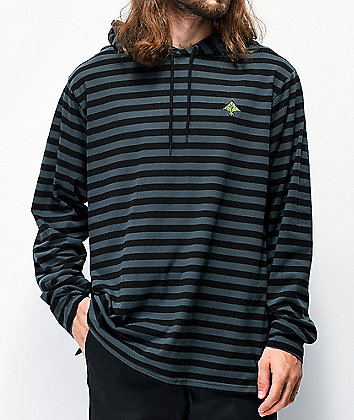 LRG Infringement Slate Green & Black Stripe Hooded Long Sleeve T-Shirt