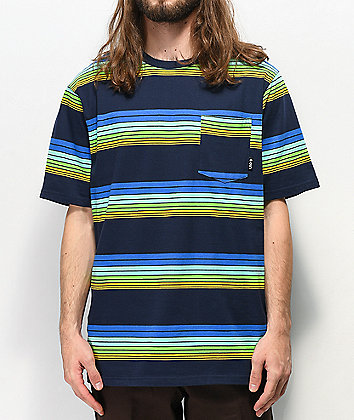 LRG Rip Tride Blue, Green & Yellow Striped Pocket T-Shirt