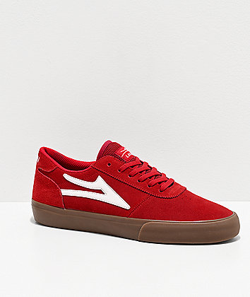 Lakai Manchester Red & Gum Suede Skate Shoes