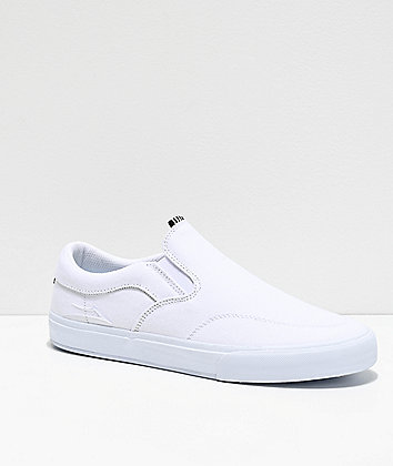 Lakai Owen VLK White Slip-On Skate Shoes