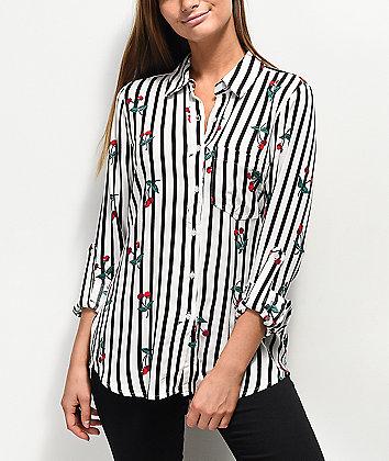Love, Fire Stripe Cherry Long Sleeve Button Up
