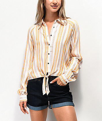 Love, Fire Yellow Stripe Tie Front Long Sleeve Button Up Shirt