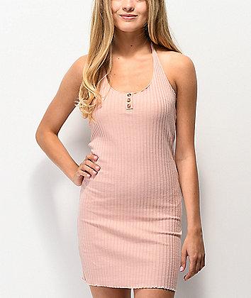Lunachix 3 Button Light Pink Bodycon Halter Dress