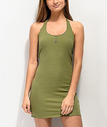 Lunachix 3 Button Olive Halter Bodycon Dress