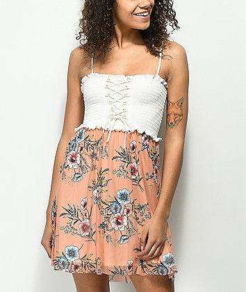 Lunachix Floral Lace Up Smocked Strapless Dress