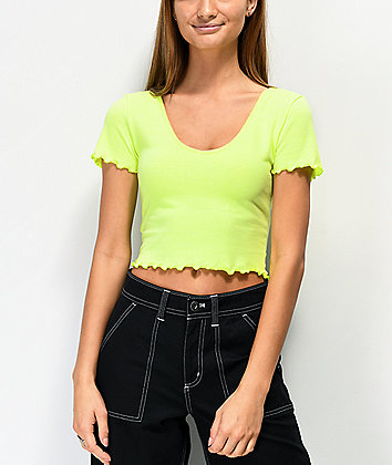 Lunachix Laurie Neon Yellow Crop Top