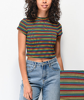 Lunachix Masie Rainbow Crop Mock Neck Top