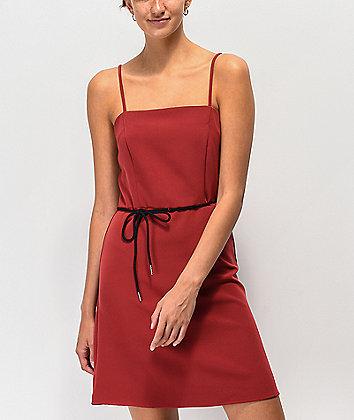 Lunachix Red Shoelace Belt Mini Dress