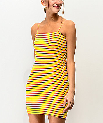 Lunachix Stripe Yellow Strappy Tube Dress