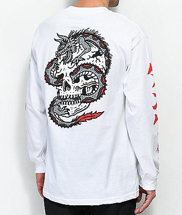 Lurking Class By Sketchy Tank Dragon Skull White T-Shirt
