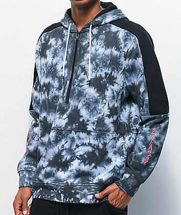 Lurking Class by Sketchy Tank Bloody Marble Black & White Tie Dye Half Zip Hoodie