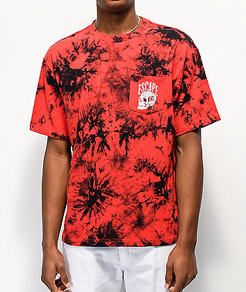 Lurking Class by Sketchy Tank Pocket Red & Black Wash T-Shirt
