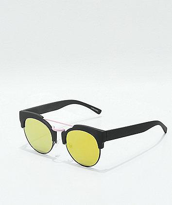 Lyric Black, Pink & Green Reflective Flat Sunglasses