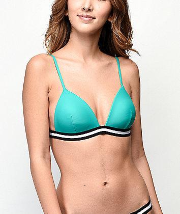 Malibu Finish Line Green Molded Triangle Bikini Top