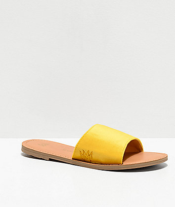Malvados Taylor Plush Canary Yellow Slide Sandals