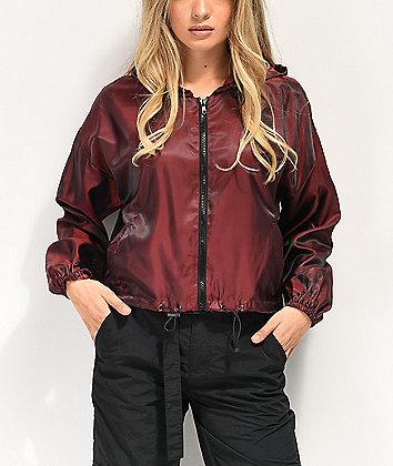 Material Girl Active Jester Red Crop Windbreaker Jacket