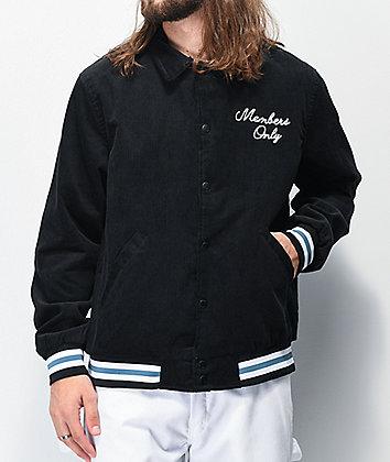 Members Only Black Corduroy Hooded Varsity Jacket
