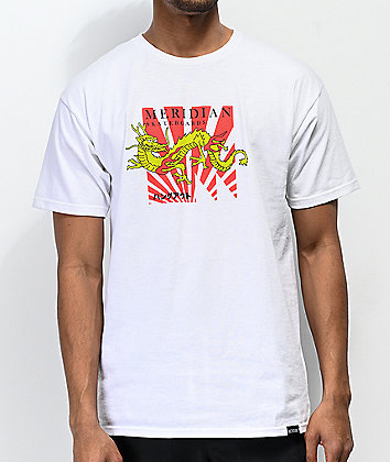 Meridian Skateboards Dragon White T-Shirt