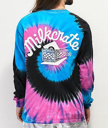 Milkcrate Logo Navy, Pink & Black Tie Dye Long Sleeve T-Shirt