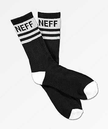 Neff Stripe Black & White Crew Socks