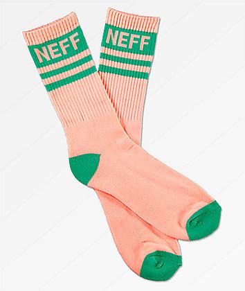 Neff Stripe Peach & Teal Crew Socks