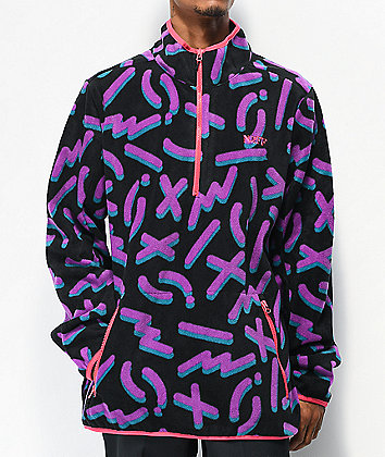 Neff Throwback Black & Purple Tech Fleece Jacket