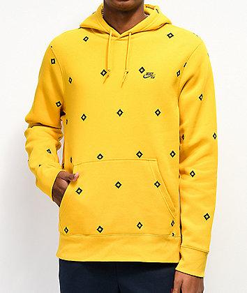 Nike SB Icon Diamond AOP sudadera con capucha dorada