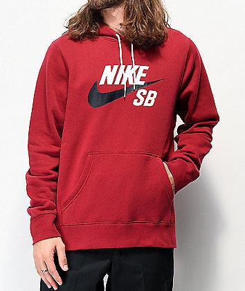 Nike SB Icon sudadera con capucha borgoña y negra
