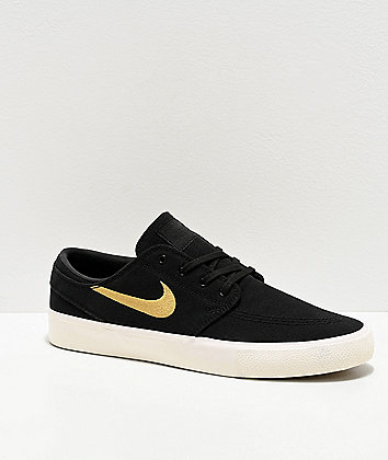 Nike SB Janoski Black, Gold & White Canvas Skate Shoes